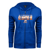 ENZA Ladies Royal Fleece Full Zip Hoodie-2016-17 Regular Season Champions - Mens Basketball Stencil