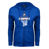ENZA Ladies Royal Fleece Full Zip Hoodie-2016-17 Regular Season Champions - Mens Basketball Hanging Net