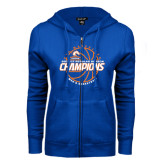 ENZA Ladies Royal Fleece Full Zip Hoodie-2016-17 Regular Season Champions - Mens Basketball Lined Ball