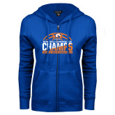 ENZA Ladies Royal Fleece Full Zip Hoodie-2017 Mens Basketball Champions Stacked Baketball