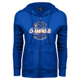 ENZA Ladies Royal Fleece Full Zip Hoodie-2017 Mens Basketball Champions Basketball
