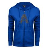 ENZA Ladies Royal Fleece Full Zip Hoodie-A with Star Graphite Glitter