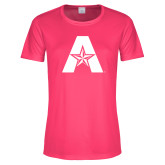 Ladies Performance Hot Pink Tee-A with Star