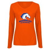 Ladies Orange Long Sleeve V Neck T Shirt-Primary Mark