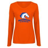 Ladies Orange Long Sleeve V Neck T Shirt-Primary Mark
