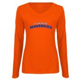 Ladies Orange Long Sleeve V Neck T Shirt-UTA Mavericks stacked