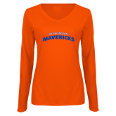 Ladies Orange Long Sleeve V Neck Tee-UTA Mavericks stacked