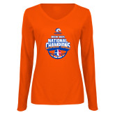 Ladies Orange Long Sleeve V Neck Tee-Movin Mavs NWBA National Champions