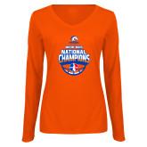Ladies Orange Long Sleeve V Neck T Shirt-Movin Mavs NWBA National Champions
