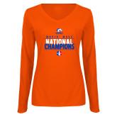 Ladies Orange Long Sleeve V Neck T Shirt-Movin Mavs National Champions