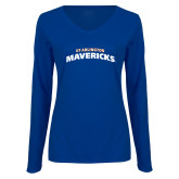 Ladies Royal Long Sleeve V Neck T Shirt-UTA Mavericks stacked