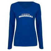 Ladies Royal Long Sleeve V Neck T Shirt-UTA Mavericks stacked