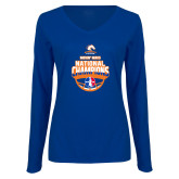 Ladies Royal Long Sleeve V Neck Tee-Movin Mavs NWBA National Champions