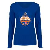 Ladies Royal Long Sleeve V Neck T Shirt-Movin Mavs NWBA National Champions