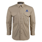 Khaki Long Sleeve Performance Fishing Shirt-A with Star