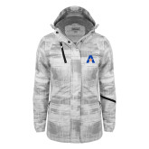 Ladies White Brushstroke Print Insulated Jacket-A with Star