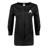 Ladies Black Snap Front Warm Up Scrub Jacket-A with Star