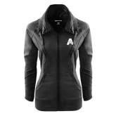Ladies Sport Wick Stretch Full Zip Black Jacket-A with Star