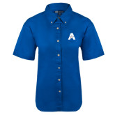 Ladies Royal Twill Button Down Short Sleeve-A with Star