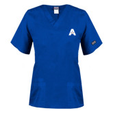 Ladies Royal Two Pocket V Neck Scrub Top-A with Star
