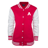Ladies Pink Raspberry Fleece Letterman Jacket-A with Star