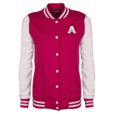 Ladies Pink Raspberry/White Fleece Letterman Jacket-A with Star