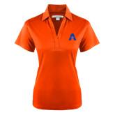 Ladies Orange Performance Fine Jacquard Polo-A with Star