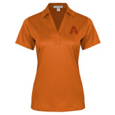Ladies Orange Performance Fine Jacquard Polo-A with Star