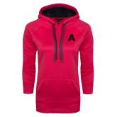 Ladies Pink Raspberry Tech Fleece Hooded Sweatshirt-A with Star