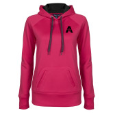 Ladies Pink Raspberry Tech Fleece Hoodie-A with Star
