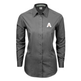 Ladies Grey Tonal Pattern Long Sleeve Shirt-A with Star