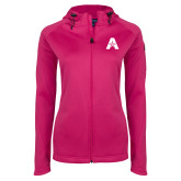 Ladies Tech Fleece Full Zip Hot Pink Hooded Jacket-A with Star