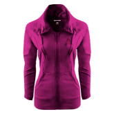 Ladies Sport Wick Stretch Full Zip Deep Berry Jacket-A with Star