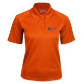 Ladies Orange Textured Saddle Shoulder Polo-Secondary Mark