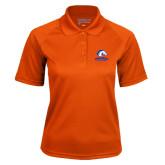 Ladies Orange Textured Saddle Shoulder Polo-Mavericks
