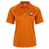 Ladies Orange Textured Saddle Shoulder Polo-Primary Mark