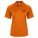 Ladies Orange Textured Saddle Shoulder Polo-A with Star