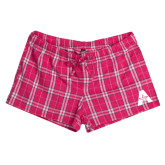 Ladies Dark Fuchsia/White Juniors Flannel Plaid Boxer-A with Star