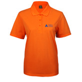 Ladies Easycare Orange Pique Polo-Secondary Mark