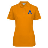 Ladies Easycare Orange Pique Polo-A with Star