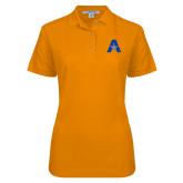 Ladies Easycare Orange Pique Polo-A with Star
