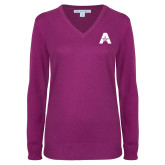 Ladies Deep Berry V Neck Sweater-A with Star