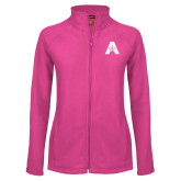 Ladies Fleece Full Zip Raspberry Jacket-A with Star