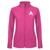 Ladies Fleece Full Zip Raspberry Jacket-A with Star