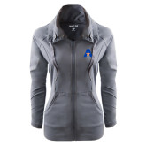 Ladies Sport Wick Stretch Full Zip Charcoal Jacket-A with Star