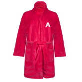 Ladies Pink Raspberry Plush Microfleece Shawl Collar Robe-A with Star