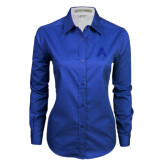 Ladies Royal Twill Button Down Long Sleeve-A with Star