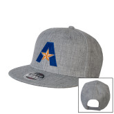 Heather Grey Wool Blend Flat Bill Snapback Hat-A with Star