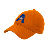 Orange Twill Unstructured Low Profile Hat-A with Star
