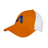 Orange w/White Mesh Back Unstructured Low Profile Hat-A with Star